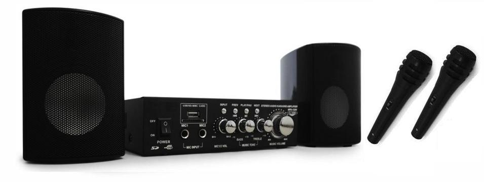 altavoces amplificador y microfonos para megafonía